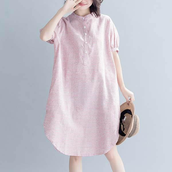 棉麻細配條開襟洋裝-大尺碼 獨具衣格 J2919