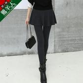 【快樂購】假兩件內搭褲女高腰顯瘦彈力裙褲