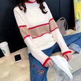 針織衣長袖初秋溫柔風毛衣女寬鬆套頭韓版拼色半高領學生線衣短款打底針織衫 99免運 維多