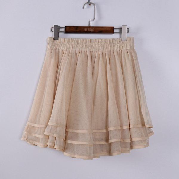 [超豐國際]拉春夏裝女裝米白色多層松緊腰網紗短裙 散8767(1入)