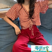 夏韓版V領寬鬆泡泡袖短款露臍格子襯衫抽繩短袖女【海闊天空】