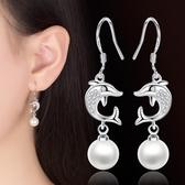 日韓鍍銀白金耳飾品 簡約流蘇百搭長款海豚耳墜 女《小師妹》ps324