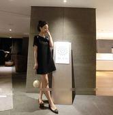 不退換洋裝連身裙20122 黑XL   大碼女裝寬鬆直筒小黑裙百搭顯瘦露肩短袖連身裙