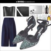 【優選】包頭水鑽亮片尖頭高跟鞋少女一字扣涼鞋