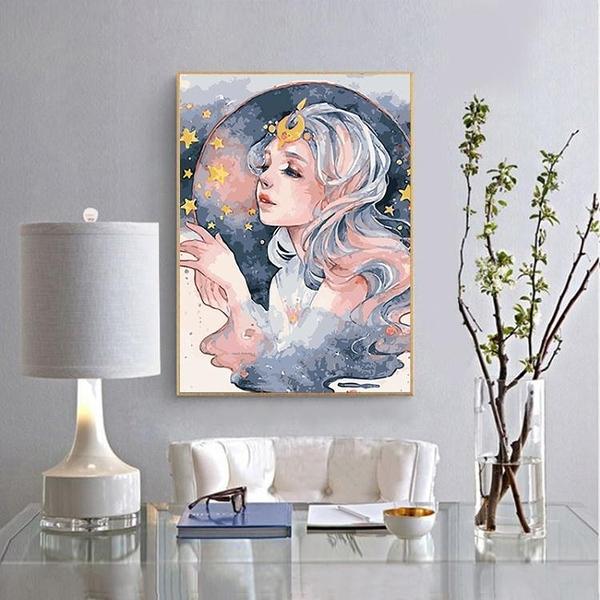數字油彩畫diy油畫人物填色畫成人手工畫客廳臥室裝飾畫花宴少女 ATF 喜迎新春