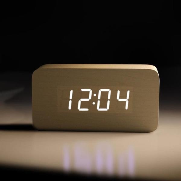 鬧鐘創意學生電子鬧鐘床頭鐘多功能簡約現代夜光LED靜音木頭鐘 設計師