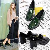 粗跟單鞋女中跟復古漆皮方扣小皮鞋工作鞋方頭高跟鞋 「潔思米」