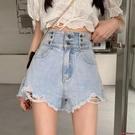 牛仔短褲 牛仔短褲女夏季高腰新款復古港味破洞設計感寬管褲子-Ballet朵朵