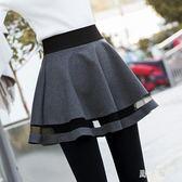 中大尺碼裙褲 穿裙子的打底褲女假兩件加絨加厚褲裙秋冬外穿 nm14223【野之旅】