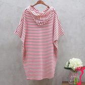 洋裝 孕婦裝夏裝上衣短袖韓版中長款大碼孕婦T恤衫寬松條紋夏季