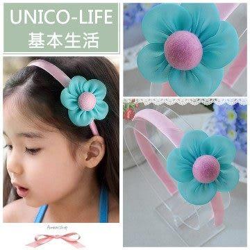 UNICO 韓版 兒童淺藍花朵髮箍