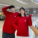 情侶裝 毛衣小眾設計感春裝韓版ins寬鬆紅色男女外穿情侶款外套【快速出貨八折鉅惠】