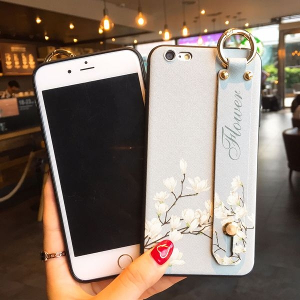 【SZ14】手腕帶花朵支架軟殼 iphone xs max 殼 iphone 8 plus手機殼 iphone 6s plus 手機殼 iphone xs手機殼
