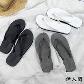 黑白色百搭夾腳防滑平底海邊沙灘鞋