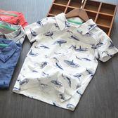 男童短袖男童短袖T恤夏季純棉薄款歐美童裝半袖上衣中大童翻領鯨魚體恤衫 寶貝計畫