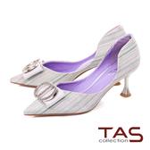 TAS立體造型水鑽飾釦尖頭高跟鞋-閃耀銀