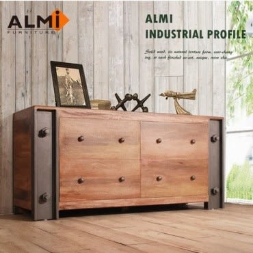ALMI DOCKER PROFILE-COMMODE BASSE 工業風四抽櫃