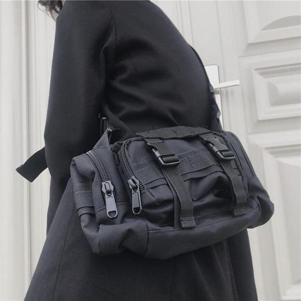 帆布包ins原宿風多功能包側背包斜背包百搭運動口袋帆布腰包男女潮