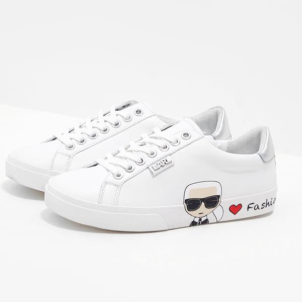 Karl Lagerfeld 卡爾 老佛爺 鞋 SKOOL IKONIK WE LOVE休閒鞋-白