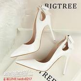 跟鞋 新款鞋春季單鞋韓版尖頭高跟鞋細跟蝴蝶結淺口瓢鞋白色34