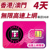 【TPHONE上網專家】香港/澳門 無限高速上網卡 4天 每天前面3GB支援高速