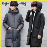 羽絨外套 中長款羽絨服黑色冬裝加厚韓版修身外套