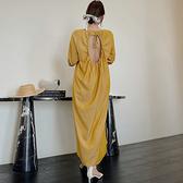 大碼洋裝~T恤裙~334韓版寬松大碼吊帶連身裙純色露肩大擺裙女N4F-C417 胖妞衣櫥