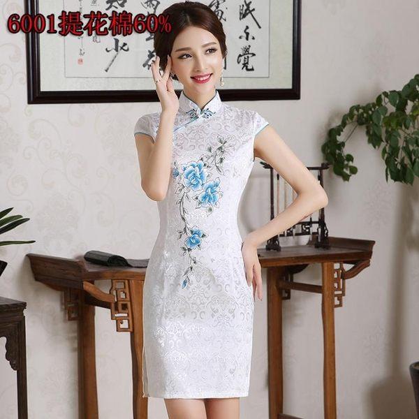 售完即止-洋裝天使衣柜修身中式短袖復古改良短款旗袍連衣裙女裝大碼7-14(庫存清出T)