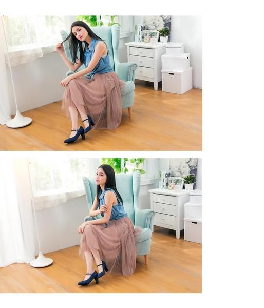 復古圓頭繫帶瑪麗珍鞋-皇室藍(8105_NY)