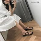 涼鞋女仙女風2021年新款低跟百搭粗跟黑色夾趾中跟羅馬鞋夏季女鞋 果果輕時尚