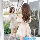 法國小眾洋裝2020夏季新款性感露肩V領荷葉邊網紗仙女吊帶裙潮 漫步雲端