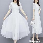 蕾絲洋裝-2021新款女氣質長裙大擺長款洋裝夏修身白色裙子蕾絲拼接沙灘裙