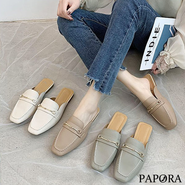 PAPORA方頭一字輕便穆勒拖鞋跟鞋KQ973黑/米/粉/綠