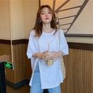 短袖T恤 白色開叉設計感女小眾短袖2021夏季新款洋氣百搭純棉t恤寬鬆上衣 寶貝寶貝計畫 上新
