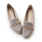amai《心機美圖鞋》粉霧感金鏈內增高樂福鞋 灰