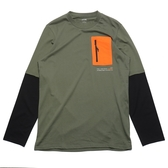 PUMA 上衣 長袖 薄長T 軍綠黑 拼接 假兩件 橘口袋 長T 男 (布魯克林) 53029264