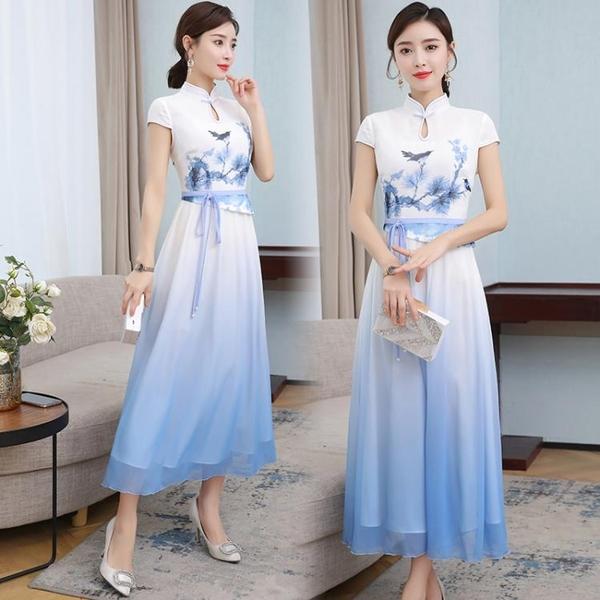 越南旗袍洋裝 2021夏季新款日常改良旗袍奧黛假兩件套裝連身裙漸變中國風中長款