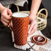 馬克杯 歐式復古陶瓷杯子馬克杯帶蓋帶勺個性辦公室大容量喝水杯咖啡杯女 4色