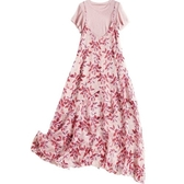 短袖套裝(兩件套)-針織衫雪紡印花吊帶裙女裙子73yd36[時尚巴黎]