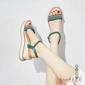 坡跟涼鞋女夏2020新款時裝百搭ins潮流行仙女風羅馬厚底鬆糕高跟 OO10843【Rose中大尺碼】
