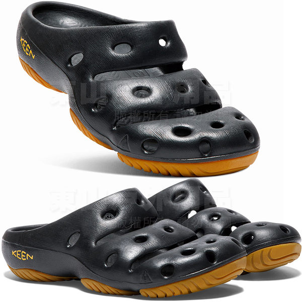 KEEN 1001966黑 Yogui男戶外護趾拖鞋 懶人拖/水陸兩用鞋/運動拖鞋/沙灘戲水涼鞋