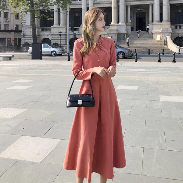 絕版出清 韓國風復古素色交叉領結優雅長版長袖洋裝