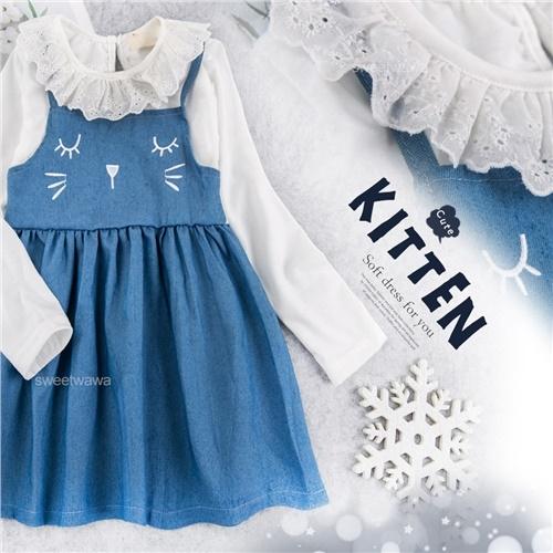 緹花領假2件貓咪洋裝(280480)★水娃娃時尚童裝★