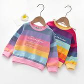 女童秋裝衛衣2019新款寶寶韓版彩虹條上衣兒童洋氣長袖T恤套頭衫