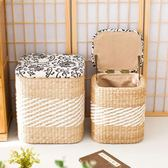 草藝居圓形收納凳儲物凳子實木換鞋凳田園簡約收納凳收納箱沙發凳WY