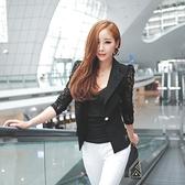 【藍色巴黎】韓國街頭時尚蕾絲拼接西裝小外套/罩衫《2色》【28937】