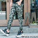 彈性縮口褲【OBIYUAN】長褲 迷彩彈...