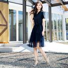 單一優惠價[H2O]雙排釦附紗裙多種穿法中長版洋裝 - 藍/卡/粉色 #0674010