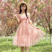 2018夏季新款女裝學生韓版網紗拼接一字領裙子中長款蝴蝶結連衣裙