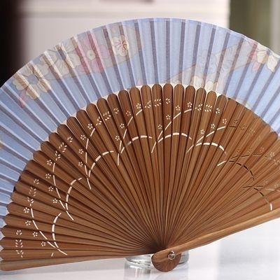 【珍藏和服扇】藍底櫻花 棕